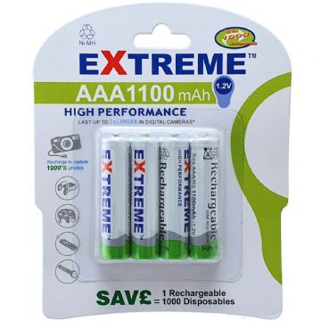 Extreme AAA 1100 mAh 1.2V Ni-MH Rechargeable Batteries